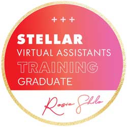 Virtually Yours Stellar Virtual Assistant Training Graduate